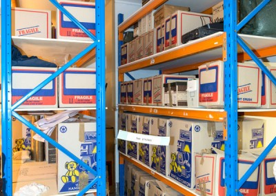 New storage configuration in museum storeroom, Museum Open Day 2, August 2014.: Photo: K Grant.
