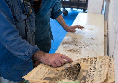 1954 newspaper sees the light after 60 years under museum hall floor , May 2014. Photo: F MacDonald