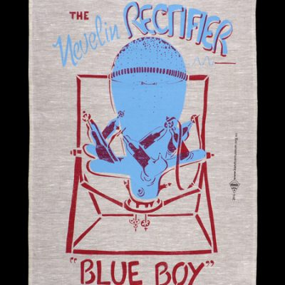 Blue Boy Tea towel designed and printed by Kate Hodgkinson at Kandos Museum